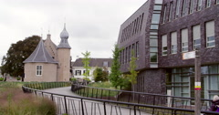 Coevorden city center with castle Stock Footage