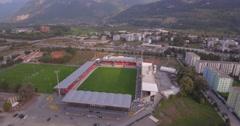 Tourbillon stadium in Sion - Switzerland  Aerial 4K Stock Footage
