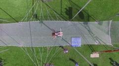 Park Luzhniki with trapeze of aerial acrobats school Stock Footage