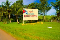 CENTRAL ROAD, CUBA - SEPTEMBER 06, 2015: Communist propaganda billboard in the Stock Photos