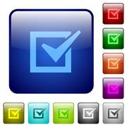 Color checked box square buttons Stock Illustration