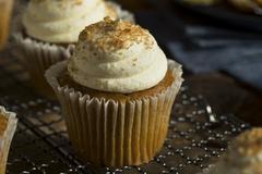 Sweet Homemade Pumpkin Spice Cupcakes Stock Photos