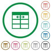 Spreadsheet adjust table column width outlined flat icons Stock Illustration