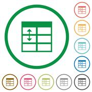 Spreadsheet adjust table row height outlined flat icons Stock Illustration