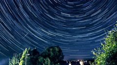 Stars leave streaks in the sky - night to morning in timelapse - Western Europe. Stock Footage