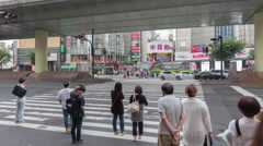 Timelapse of tourist people walking crossing road on zebra crossing osaka japan Stock Footage