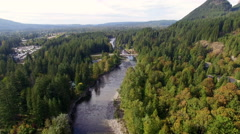 Above Snoqualmie River Aerial North Bend, Washington Stock Footage