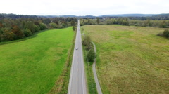 Aerial Above Car Isolated Green Valley Road Stock Footage