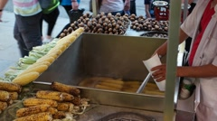 Organic grilled corn on the hot stove. Street food in Istanbul -Turkey Stock Footage