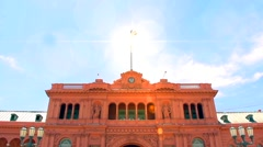 Sun Rays over Casa Rosada (Pink House) Stock Footage