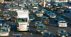 Traffic jam and congestion during rush hour on California Freeway 4K Stock Footage
