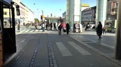 Pedestrians Walking in Precinct Near Norreport Station in Copenhagen Stock Footage