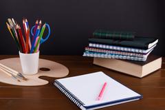 Student studies accessories Stock Photos