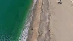 Aerial view of sandy beach near Evpatoria, Crimea Stock Footage