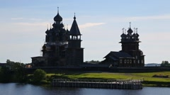 Famous architectural ensemble on Kizhi Island in Russia Stock Footage