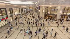 Timelapse of tourist walking in Hankyu Umeda Building in Osaka Kansai Japan Stock Footage