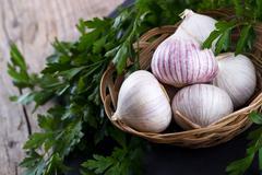 Chinese solo garlic Stock Photos