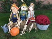 Three Halloween scarecrows Stock Photos