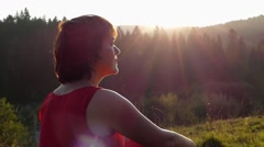 Beautiful Woman in Sun Light at Sunset Show Admiration Hands. Stock Footage