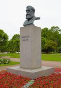 Bust sculpture of Friedrich Engels on a pedestal in Saint Petersburg Stock Photos