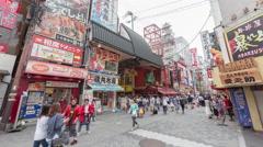 Timelapse of tourist people walking in dotonbori street in Namba Osaka Japan Stock Footage