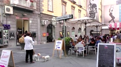 Cafe eatery piazza tourism, Naples Italy Stock Footage