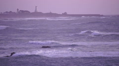 Storm Rolling in at Dawn California Pacific Ocean Coast Lighthouse Stock Footage