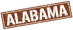 Alabama brown square stamp Stock Illustration