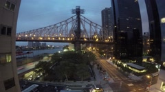 Roosvelt Island Tramway and Ed Koch Queensboro Bride Timlapse at Dawn Stock Footage