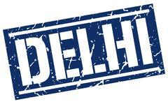 Delhi blue square stamp Stock Illustration