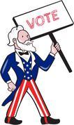Uncle Sam Placard Vote Standing Cartoon Stock Illustration