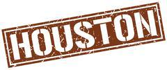 Houston brown square stamp Stock Illustration
