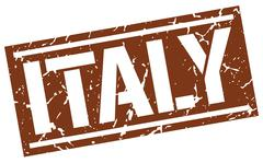 Italy brown square stamp Stock Illustration