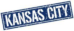 Kansas City blue square stamp Piirros