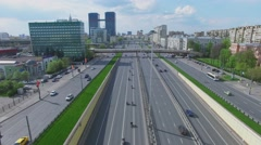 Cityscape with transport traffic and bikers motorcade Stock Footage