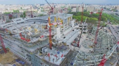 Construction site of soccer stadium Dynamo and cityscape Stock Footage