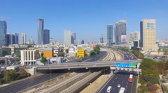 Tel Aviv skyline - Aerial footage of Tel Aviv's center with Ayalon freeway Stock Footage