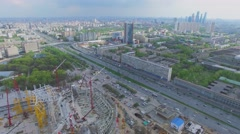 Cityscape with construction site of football arena Dynamo Stock Footage