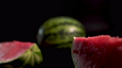 Sliding between fresh watermelons Stock Footage