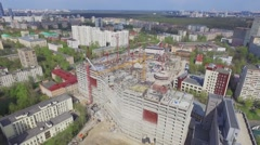 Cityscape and building site of dwelling complex at spring Stock Footage