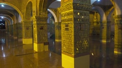 Walk between shiny pillars of Sutaungpyei temple Stock Footage