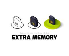 Extra memory icon in different style Stock Illustration