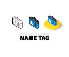 Name tag icon in different style Stock Illustration
