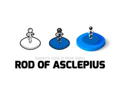 Rod of Asclepius icon in different style Stock Illustration