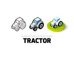 Tractor icon in different style Stock Illustration