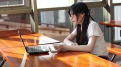 Asian university girl in uniform Stock Footage