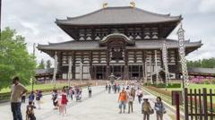 Timelapse of tourist walking at Todaiji Great Eastern Temple nara japan Stock Footage