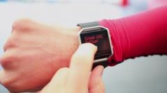 Hand with sports watch which shows results of training Stock Footage