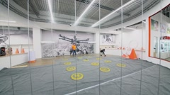 Quadrocopter area in remote models shop on territory of trade center Stock Footage