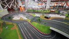 Toy racing track in recreational zone Arena of Aviapark mall Stock Footage
